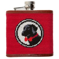 Red Logo Needlepoint Flask